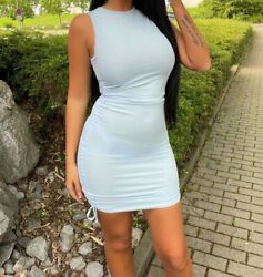 Dress Ruched Mini Side Bodycon Ladies Party Women Sleeveless Short Blue Size 12 GBP 14.99