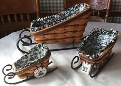 3 Longaberger Traditional Sleigh Baskets Runners Holly Liners Protectors