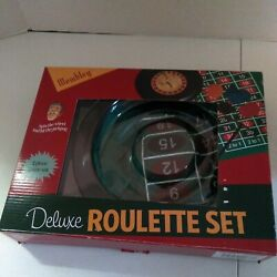 New Wembley Deluxe Roulette 4 Piece Game Set With Wheel, Felt Mat, Chips And Rake
