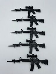 Lot 5 Cotswold Black Plastic M-16 Toy Rifle With Scope Bayonet Accessory Gun