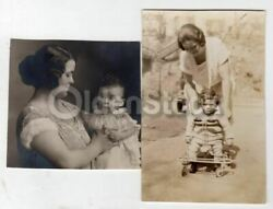 Lovely Young Mother Baby Baptism And Toy Cart Antique Snapshot Photos