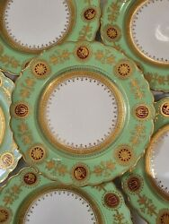 Coalport England Green China Plates Gold Floral Detail Scalloped Set Of 6 D