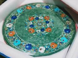 24and039and039 Antique Round Green Marble Coffee Center Table Top Inlay Pietra Dura