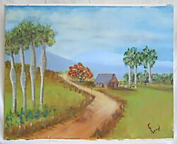 Folk Naive Vintage Cuba Painting Thatch Roof Countrty House Laundry F Bernal