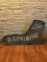 Vintage And Rare Shoe Repair Boot Advertising Sign