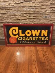 """Vintage And Rare Framed Canvas Cigarette Advertising Sign """"clown Cigarettes"""""""