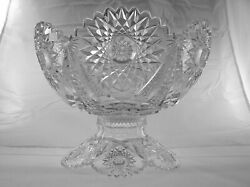 American Brilliant Cut Glass 2 Part Punch Bowl In Star Pattern By Fry Antique