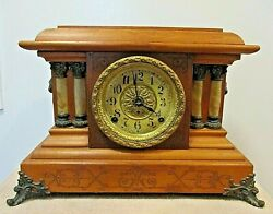 Seth Thomas Early 1900andrsquos Adamantine Mantle Clock Pillars And Lion Heads Antique
