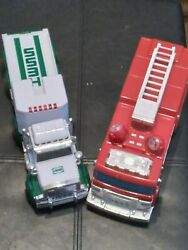 Rare Lot Of 2 Hess Toy Trucks 2005 Fire Truck 1995 Toy Truck With Trailer No Box