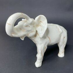 Vintage Standing White Elephant Brown Painted Trunk Up Heavy Ceramic Figurine