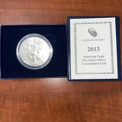 American Eagle 2013-w Silver 1 Oz. Brilliant Uncirculated Coin With Ogp And Coa