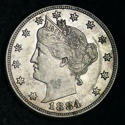 1884 Liberty V Nickel Choice Unc Uncirculated Ms Free Shipping E230 Wcnm