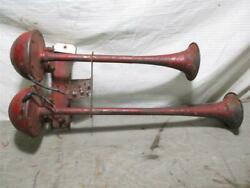 Vintage Trumpet Dual Horns Car Truck Ford Chevy Dodge Rat Rod Buick Works 40 2