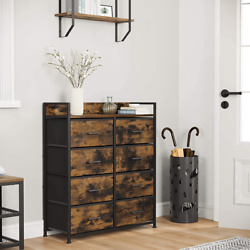 Closet Storage Dresser Chest Of Drawers, 8 Fabric Drawers And Metal With Handles