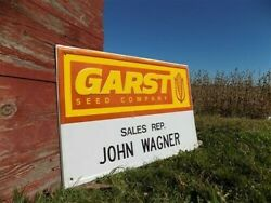 36 X 24 Garst Seed Vintage Metal Advertising Sign Wagner Seed Corn Farm Country