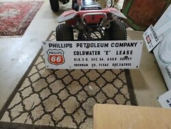 Rare Phillips 66 Petroleum Company Porcelain Oil Well Lease Drilling Rig Sign