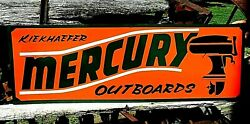 36andrdquo Vintage Hand Painted Mercury Outboard Motors Boat Shop Sign Fishing Gas Oil
