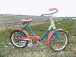 Murray Childs Bike Red White Blue Bicycle Troxel Seat Clipper Tires Vintage