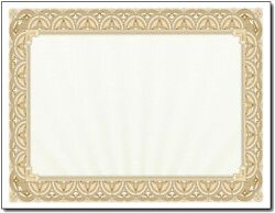 Gold Border Blank Certificate Paper - 100 Pack - 8.5 X 11 Certificates