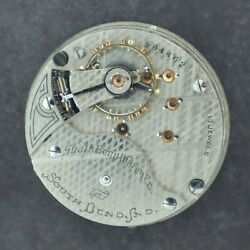 Antique 18 Size South Bend 17 Jewel Manual Wind Pocket Watch Movement Grade 347