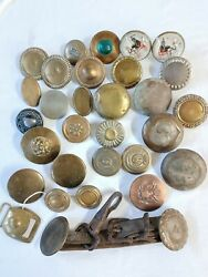 Antique Military Army Flower Horseshoe Brass Copper Glass Bridle Rosette Lot
