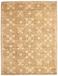 Modern Hand-knotted Carpet 9and0392 X 11and0399 Olive Wool Area Rug