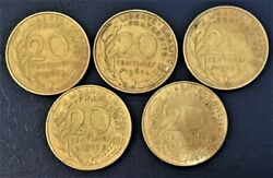 France 1963, 1964, 1970, 1977 And 1978 20 Centimes Coins D