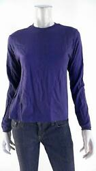 Designer Womens size S Cotton Shirt Top Pull Over Crew Neck Solid Purple Casual $5.99