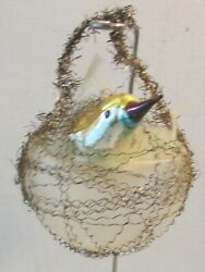 Antique German Bird Crinkled Wire Wrapped Nest Spun Glass Tail Xmas Ornament B