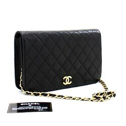 C26 Authentic Full Flap Chain Shoulder Bag Clutch Black Quilted Lambskin