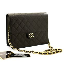 A22 Authentic Small Chain Shoulder Bag Clutch Black Quilted Flap Lambskin