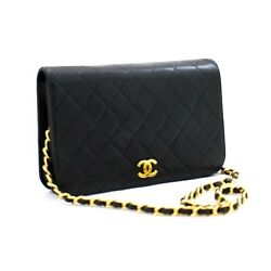 A74 Authentic Full Flap Chain Shoulder Bag Clutch Black Quilted Lambskin