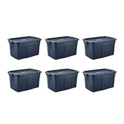 Roughneck 31-gal. Rugged Stackable Storage Tote Container 6-pack