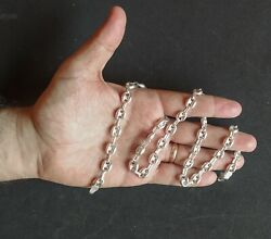Old Men Chain Necklace Real Solid 925 Sterling Silver 24.4 Bean Link 40 Grams