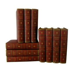 Antique Thackeray's Works, 10 Book Lot, Very Old Display Set, Bookshelf Staging