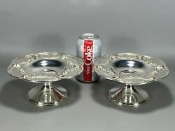 Pair Of 7.25 Theodore B Starr Sterling Silver Compotes Tazzas Face Cameos 25ozt