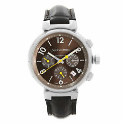 Louis Vuitton Tambour 41mm Steel Leather Brown Dial Automatic Mens Watch Q1121
