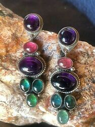 Ron Wesley Multi-stone Amethyst And Tourmaline Sterling Silver Dangle Earrings