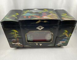Japanese Black Lacquer Jewelry Box Music Box With Animated Figurines Working