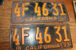 1933 California Matched Pair 4f 46 31 License Plates Dmv Clear Very Solid