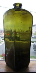 Bright Yellow Olive Green Quart Open Pontil Applied Top Pig Nose Case Gin Bottle