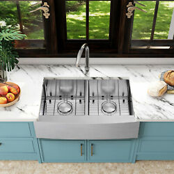 30/33and039and039 Stainless Steel Farmhouse Kitchen Sink Single/double Bowl With Faucet