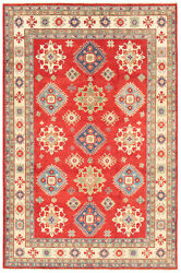 Vintage Geometric Hand-knotted Carpet 6and0395 X 9and03910 Traditional Wool Area Rug