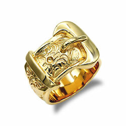 Jewelco London Mens Solid 9ct Yellow Gold Single Buckle Ring