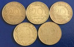 France 1963, 1967, 1970, 1972 And 1974 20 Centimes Coins A