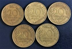 France 1963, 1964, 1965, 1967 And 1968 20 Centimes Coins B