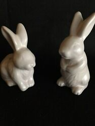 Sale + 4 Ships Bunny🐰 Beautiful Pink Stoneware Rabbit Salt And Pepper Shakers
