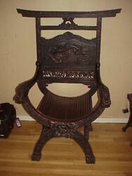 Antique 1890 Chinese Throne Chair Carved Dragon Back And Arms Local Pick Up Ny