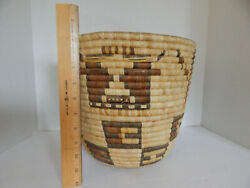 Hopi Indian 2nd Mesa Mid 20th Century Coiled Basket-10 1/2'' By 12''
