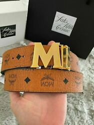 Authentic Mcm Brown And Black Reversible Menand039s Leather Belt M Buckle One Size